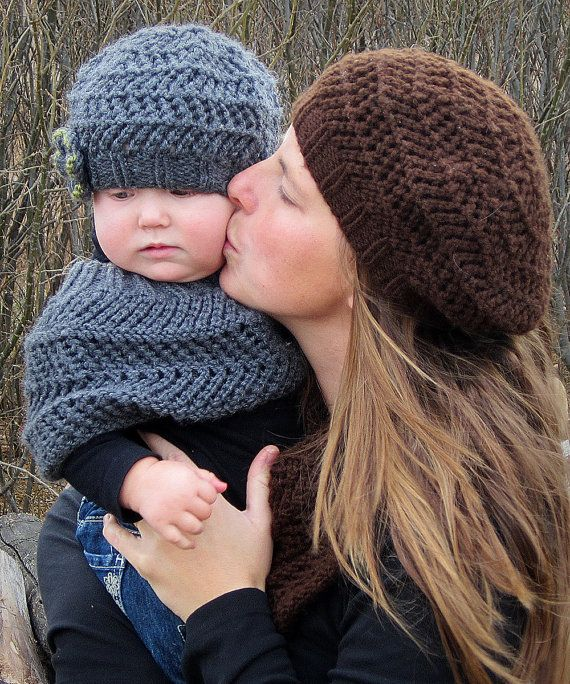 KNITTING PATTERN  Hat and Scarf and Poncho set by KnotEnufKnitting