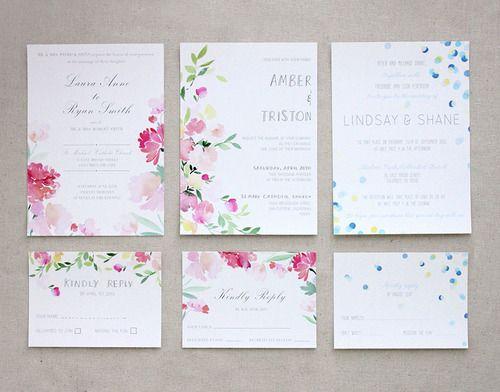 watercolour wedding invites