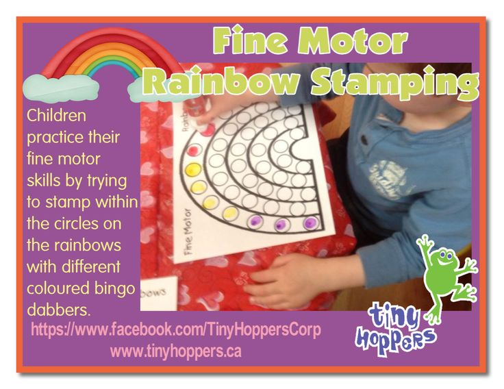 A fun fine motor activity while learning about the colours of the rainbow.  We created a rainbow and added circular dots, big enough to fit ...