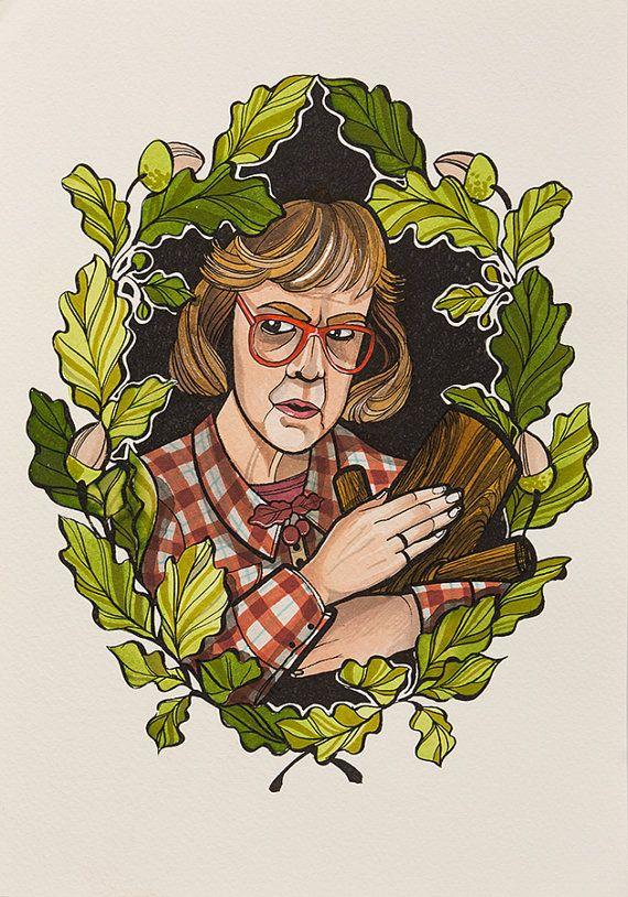 The Log Lady  Twin Peaks by MarlenMcKeyShop on Etsy