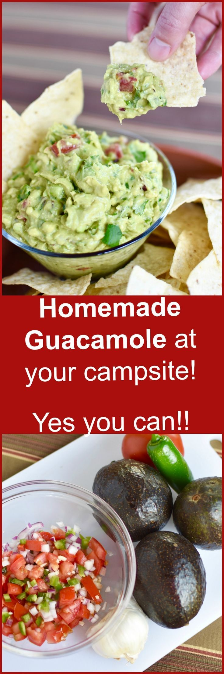 This long time family favorite guacamole is full of garlic, onion, cilantro, jalapeño, and of course ripe avocados! This recipe is modified to make it perfect for camping!!