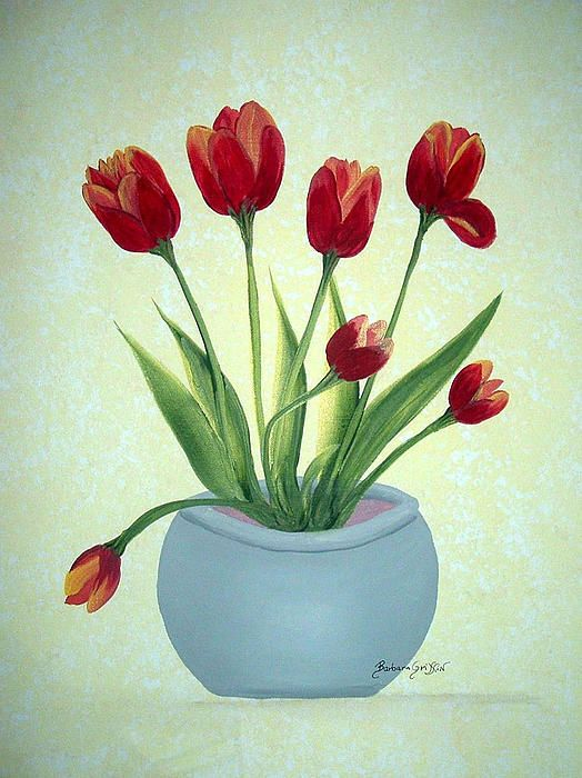 Red Tulips in a Pot by Barbara Griffin. Red tulips growing in a grey pot. The background is composed of mottled yellows. Taking commissions for any color of tulip like those in this painting.