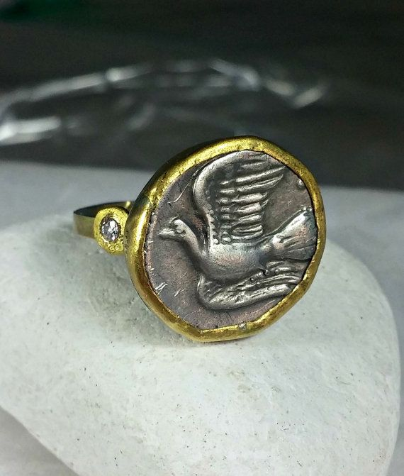 Gold Coin Ring Statement Ring Ancient Coin Jewelry by Marajoyce