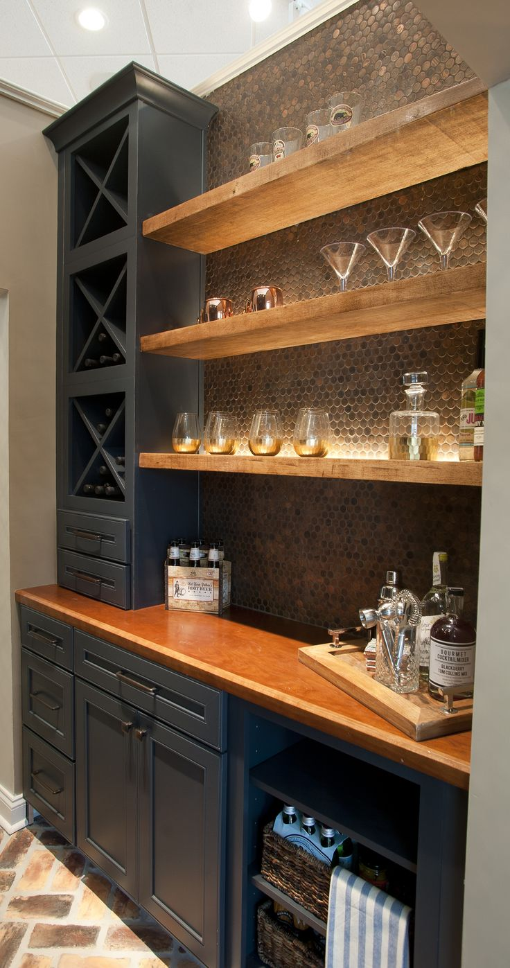 Butler Pantry and Bar Design by Dalton Carpet One Wellborn Cabinets- Cabinet Finish: Maple Bleu; Door Style: Sonoma; Countertops: Cherry Java; Floating Shelves: Deuley Designs; Floor Tile: Aplha Brick, Country Mix; Grout: Mapei Pewter; Backsplash: Metallix Collection Nickels Antique Copper; Grout: Mapei Chocolate; Paint: Benjamin Moore HC-77 Alexandria Beige Photo by: Dennis McDaniel