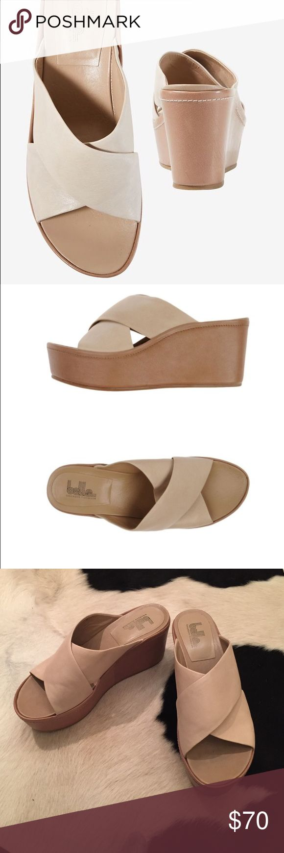 Belle NY Sigerson Morrison Natural Sandals. Size 7 Leather, no appliqués, solid color, round toeline, rubber sole, wedge heel, covered wedge. Soft Leather. Color: natural. Like new. Worn once. US 7. Belle by Sigerson Morrison Shoes