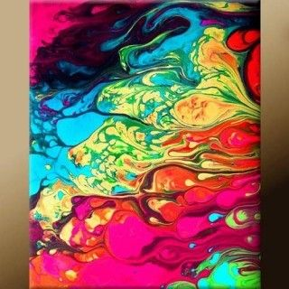 Pore acrylic paint onto a canvas, then submerge into water. Results are beautiful, colorful abstract painting.