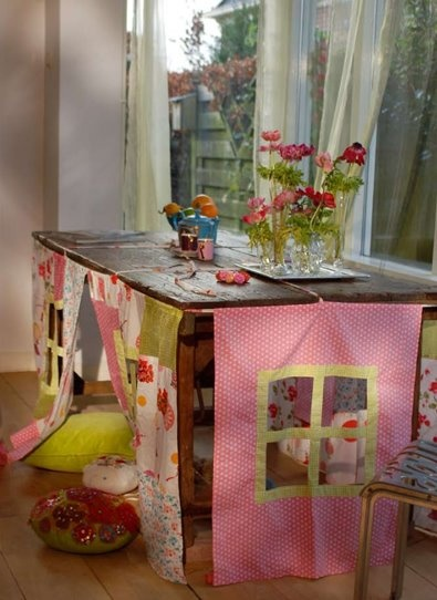 I think this will be the next project for my nieces. A fabric slip cover that turns a table into a play fort.