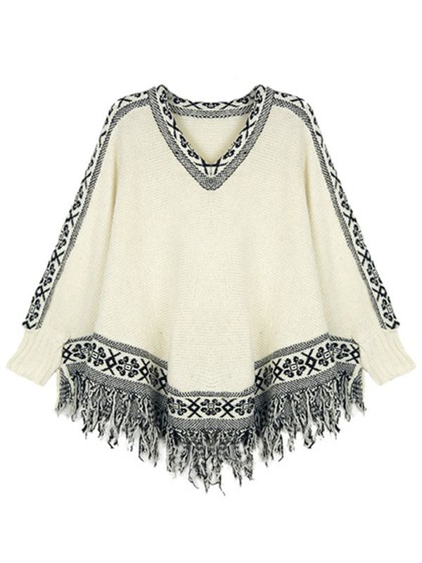 Beige V Neck Pullover Patchwork Tassel Sweater : KissChic.com