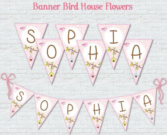 Bird and Bird House Banner Flags Digital Custom by BolleBluParty