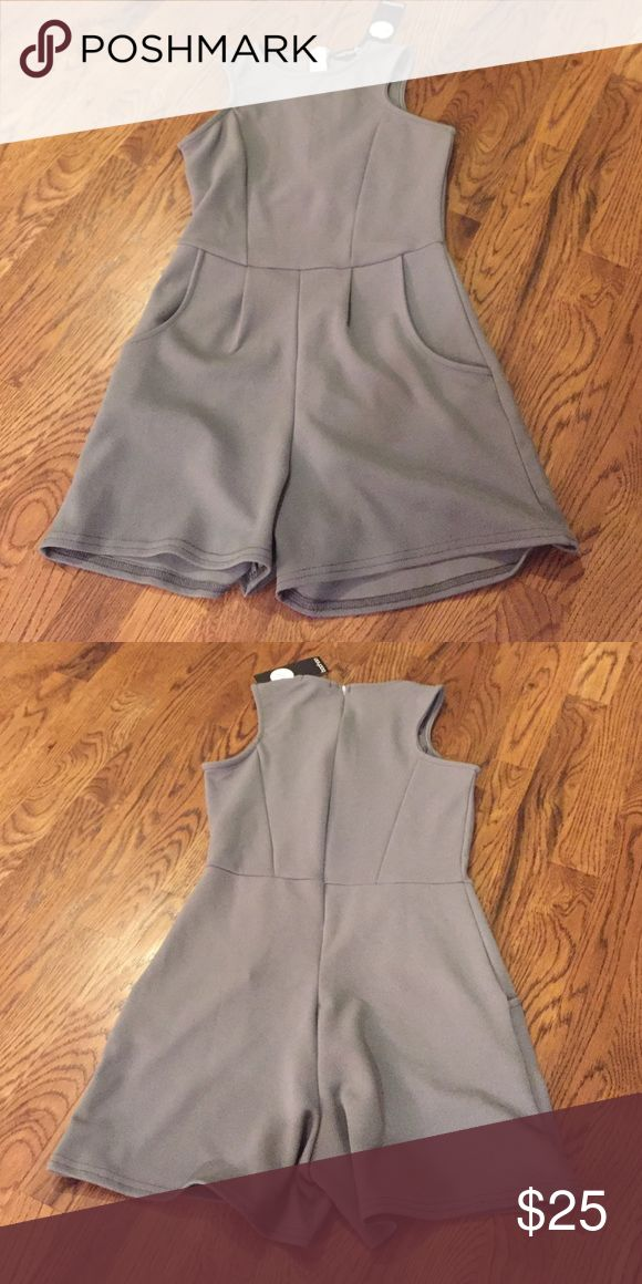 NWT Grey Playsuit NWT Grey Playsuit.  Boohoo brand.  Size 4.  Super cute!! Boohoo Pants Jumpsuits & Rompers