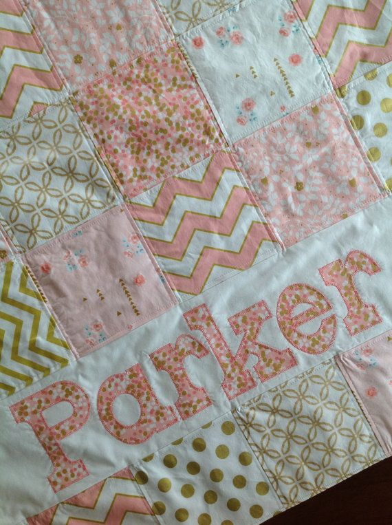 37 best baby quilts images on pinterest baby afghans baby baby name quilt personalized pink patchwork baby blanket modern baby quilt baby shower gift baby minky blanket crib bedding bbsprouts patchwork baby negle Image collections