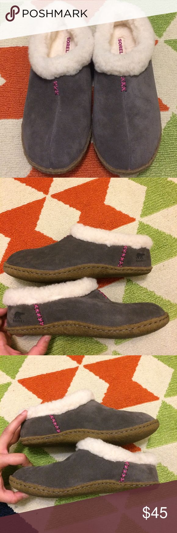NWOT Sorel Slippers New without Tags! Gray with pink stitching, sticky sole and thick fur for warmth. Sorel Shoes Slippers