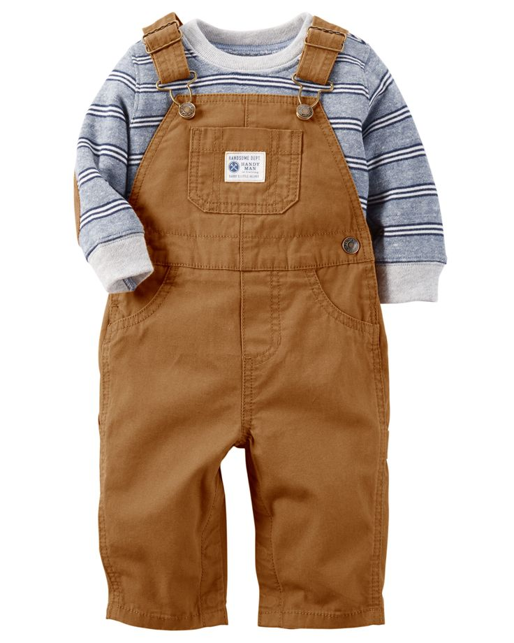 Complete with classic canvas overalls and a striped French terry top with corduroy elbow patches, this 2-piece set is perfect for the pumpkin patch.