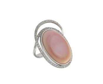 Δαχτυλίδι σε Λευκόχρυσο 18K Οβάλ Όστρακο Ροζ με διαμάντια #Ring #White_Gold  #Pink_diamond #Ostrako #handmade #craftsmanship  #goldsmith #Thessaloniki #Greece