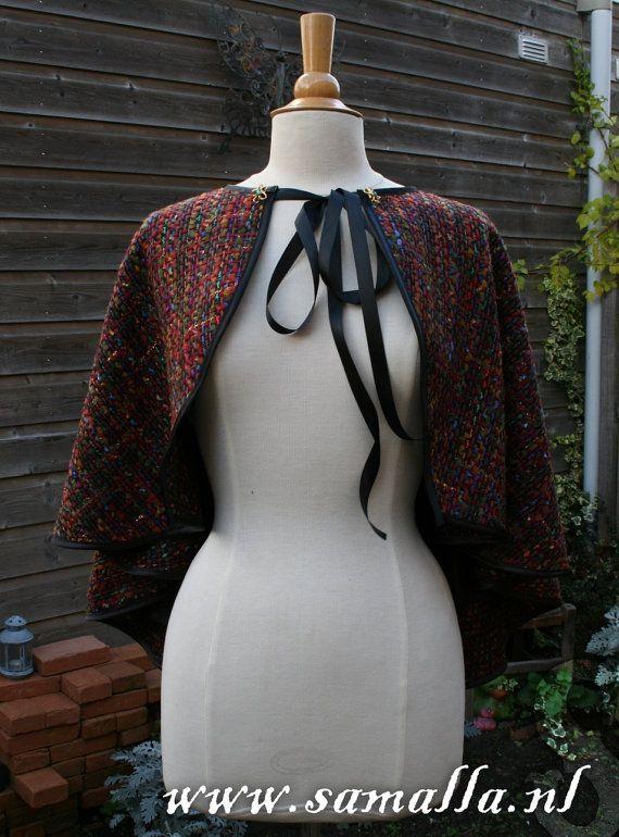 Multicolour Wool short cape capelet  for Ren Faire by SamallaNL