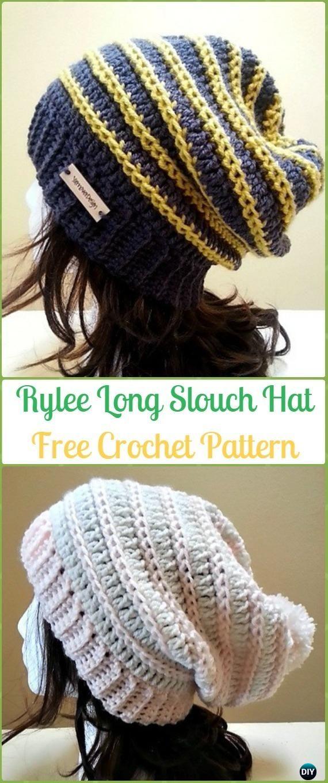 Crochet Rylee Long Slouch Beanie Hat Free Pattern-Crochet Slouchy Beanie Hat Free Patterns