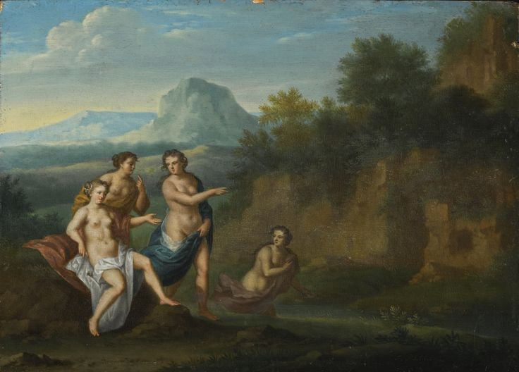 Sir James Palmer WINGHAM, KENT 1585 - 1658 DORNEY, BUCKINGHAMSHIRE FOUR NYMPHS IN AN ITALIANATE LANDSCAPE signed lower right: J. Palmer oil on panel, unframed 15.8 by 22.5 cm.; 6 1/4  by 8 7/8  in.: