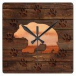 Watercolor Bear, Carved Paws, Rustic Wall Clock  #Bear #Carved #Clock #Paws #Rustic #RusticClock #Wall #Watercolor The Rustic Clock