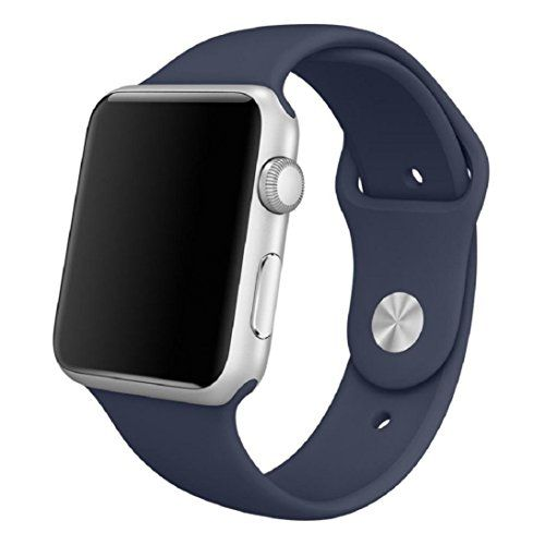 cool Apple Watch Replacement Band,IHRKleid Soft Silicone Replacement Sports Wristbands Straps for Apple iWatch All Models (Dark Blue 38 MM)