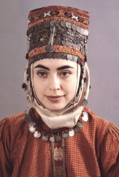 A young Chuvash woman in her traditional dress and jewellery. The Chuvash are a Turkic ethnic group, Most of them live in Republic of Chuvashia (A federal subject of Russia).