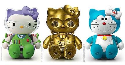 Hello Kitty as Buzz Lightyear, C-3PO, and Doraemon