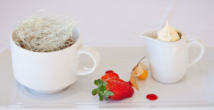 Dish of the Day: Hot chocolate pudding served with praline parfait. Perfect for this rainy day! @ Lagoon Beach Hotel