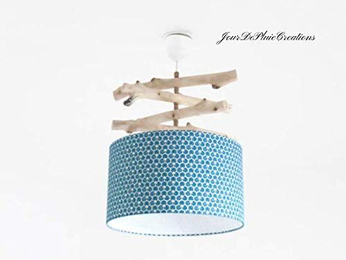 lustre bois flott abat jour motif g om trique riad bleu. Black Bedroom Furniture Sets. Home Design Ideas