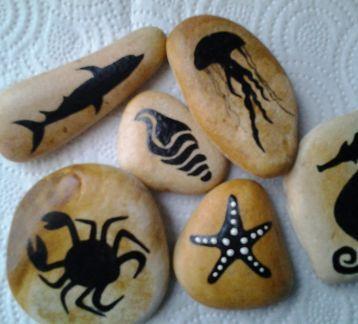 hediyelik eşya/deniz canlıları serisi/ kişiye özel /ilginç  dekoratif/hand made/el yapımı /Taş boyama/creative /yaratıcı/tasarım/aksesuar/sanat/-68-