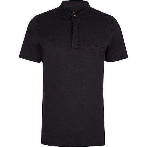 Marineblauwe slim-fit poloshirt met korte mouwen - Poloshirts - heren