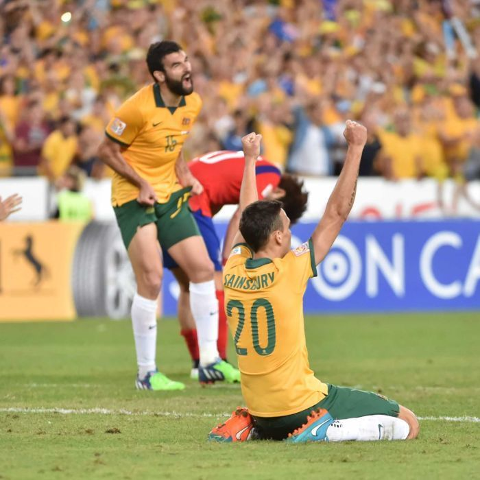 Sainsbury celebrates Asian Cup win - Australia's Trent Sainsbury (R) celebrates winning the Asian Cup final against South Korea in Sydney on January 31, 2015.