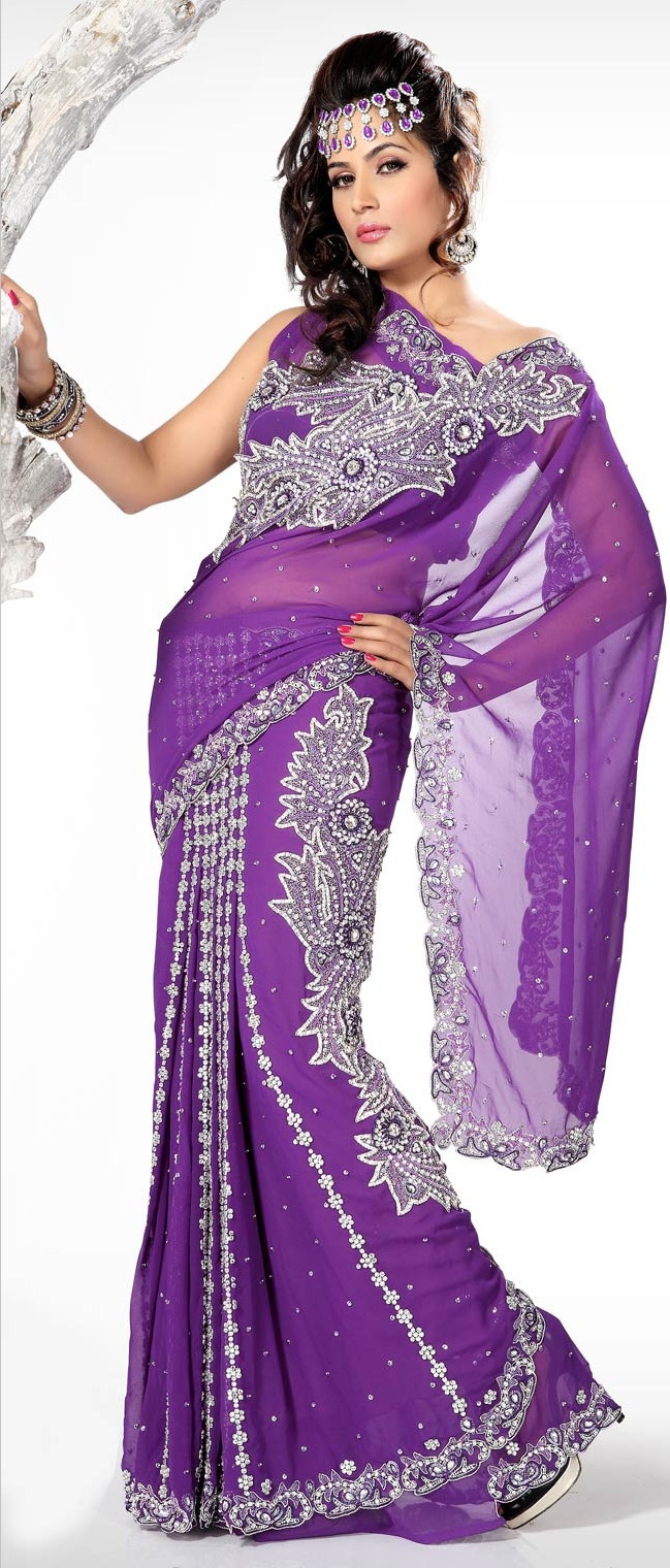 #Purple Faux Georgette #Lehenga Style #Saree with Blouse @ $334.88