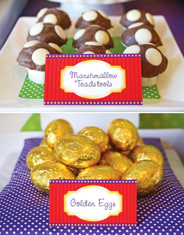 Charlie and the Chocolate Factory Treats, golden eggs? theme tables for each child?
