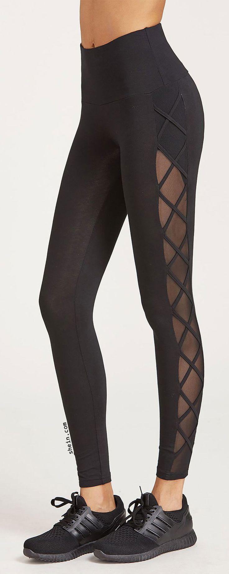 Black Cutout Crisscross Side Leggings