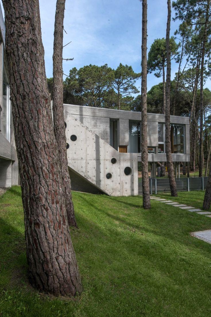 Construido en 2016 en Cariló, Argentina. Imagenes por Diego Medina. Casa Kuvasz esta implantada en la cima de una duna en el bosque de Carilo, casi sin vecinos, frente a una reserva forestal sin lotear. La...