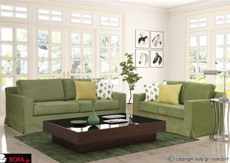 Νέα Φωτογραφία του #σαλονιού Sylvia σε #πράσινο #χρώμα. Ταιριάζει απόλυτα σε αυτό το #φωτεινό #σπίτι με θέα τον πράσινο κήπο.