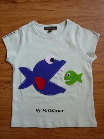camiseta peces camisetas algodón y fieltro aplique cosido a mano                                                                                                                                                     Más