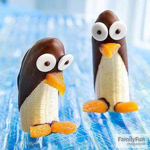 Schooobananen Pinguine: getrocknete aprikosen & weisse schokotropfen