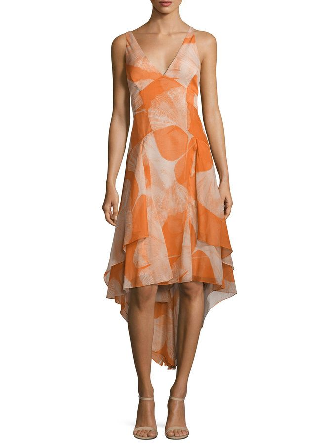 V-Neck Printed Cascaded Dress from Up to 70% Off: Halston Heritage on Gilt