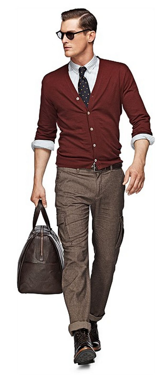Nice look...cool and sophisticated. The color of the cardigan is really great and I love the pants!