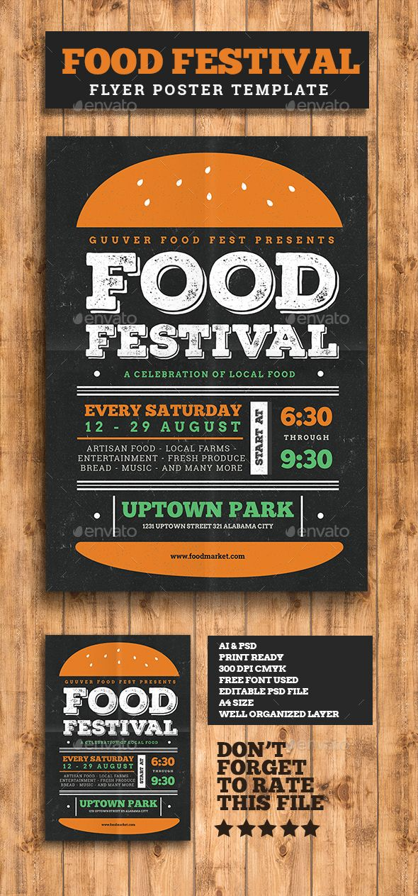 Food Festival Flyer Template PSD. Download here http