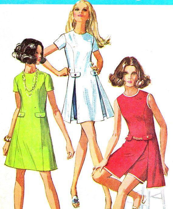 década de 1960 patrón simplicidad 8281 línea costura Mod
