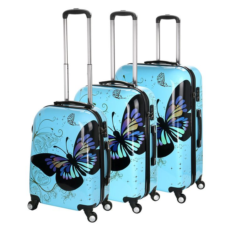 """Suitcases Hard PC Blue Butterfly Design Luggage Multicolored 20""""- 28"""" Funky Bag"""