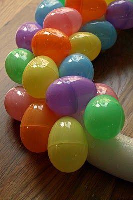 An Easter egg wreath...very simple! Hot glue Easter eggs onto a foam wreath and PRESTO.....sooo CUTE!