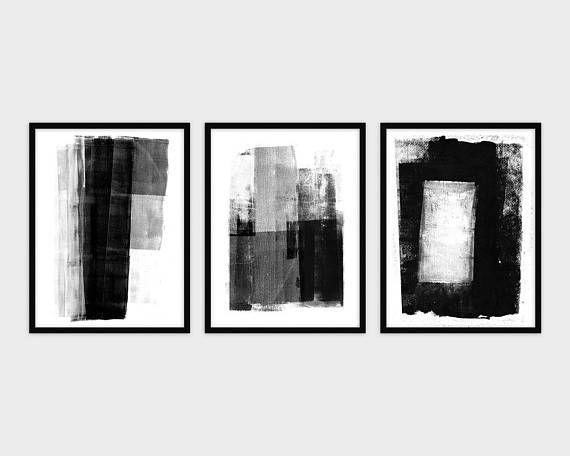 Black and White Abstract Set Black & White Wall Art Set ...