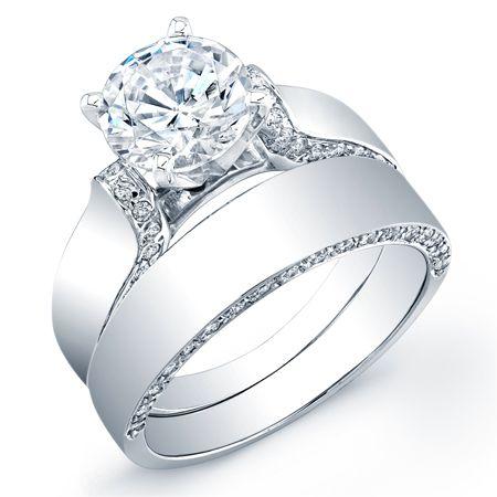 Band 46, Set Band, Diamond Wrap, Center Diamond, Diamond Bands, Round Cut  Diamond, Thick Band Engagement Ring, Engagment Rings, Round Engagement