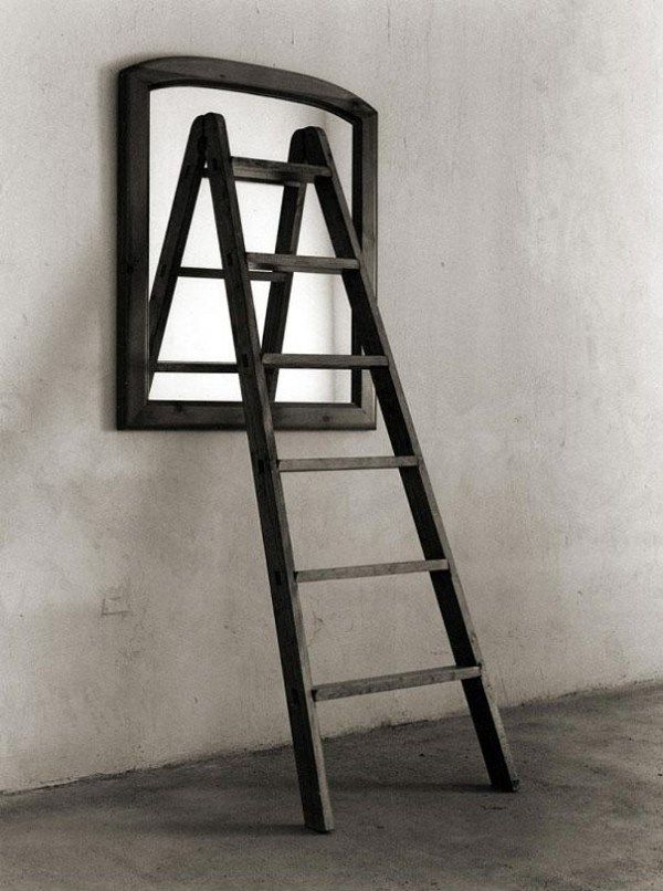 Is it a ladder reflecting on the mirror, or is it an open window with a ladder going out down to the ground? Each one has his own illusions on matters...What isthe truth for each one? and what is the connection after...?