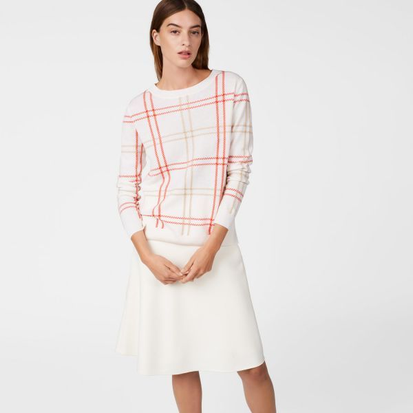 GANT - Checked Lambswool Crew Sweater Eggshell for women | Offisiell nettside Pris 1'700,-