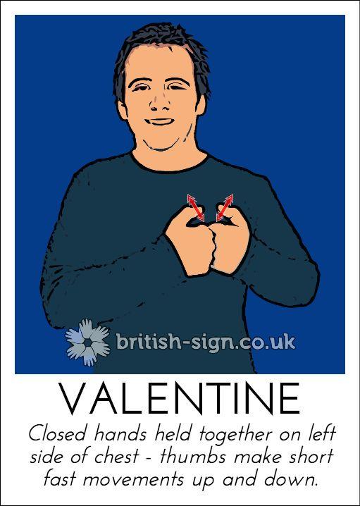 Today's British Sign Language sign is: VALENTINE - send a BSL valentine card at www.signedgreetings.com #ValentinesDay #BSL #BritishSignLanguage