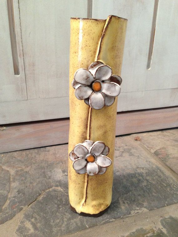 SOLD  Hand Built Flower Vase by Julie by FreemanBurchPottery, $38.00: Hands Built, Handmade Flower, Hands Building, Sold Hands, Grandma Flower, Plans Ideas, Flower Vase, Flowers Vase, Handbuilt Flower
