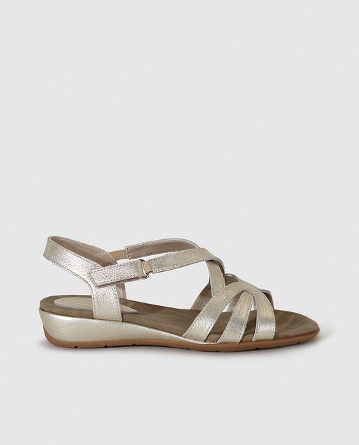 Sandalias planas de mujer Antea de piel doradas